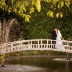 wedding couple in sunshine on fennes bridge