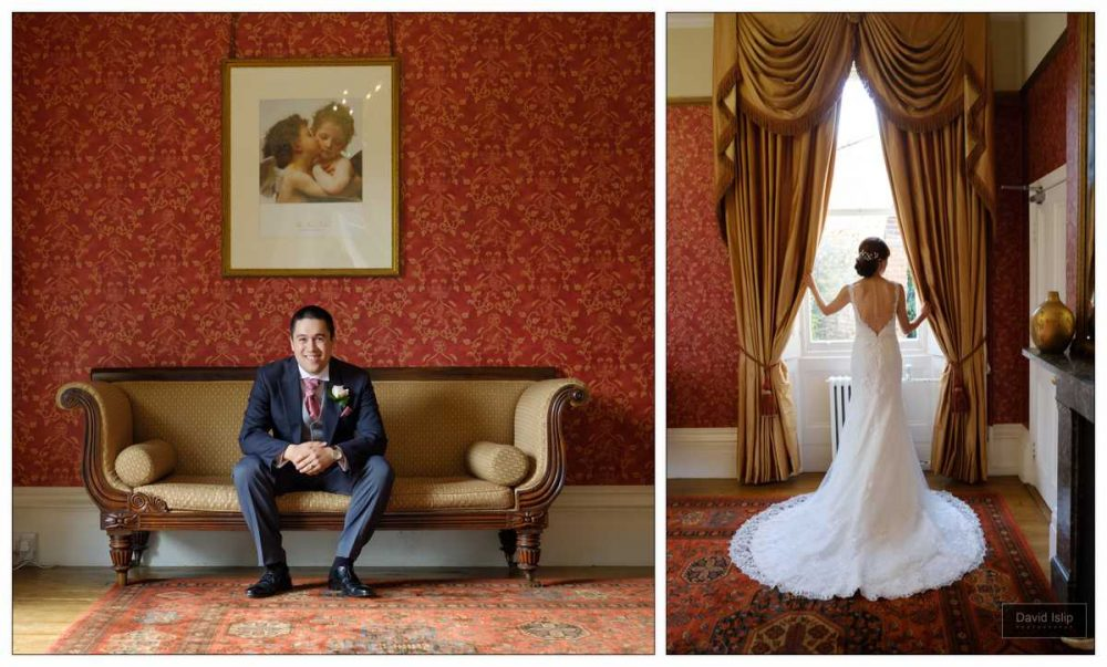 Classic posed wedding pictures in Fennes red room